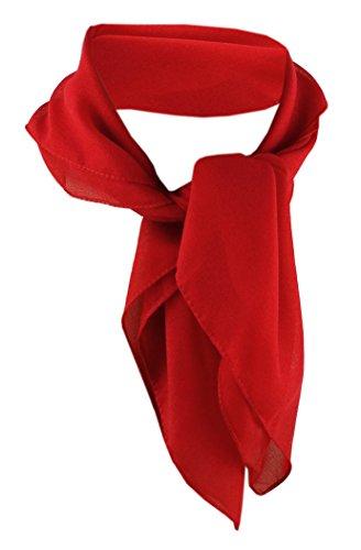 TigerTie Damen Chiffon Nickituch in rot einfarbig unicolor - Halstuch Größe 50 cm x 50 cm
