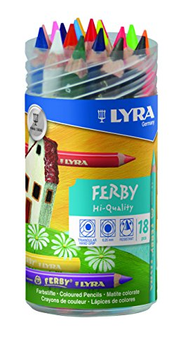 LYRA 3623180 Ferby Verschließbare Runddose mit 18 Farbstiften, Sortiert