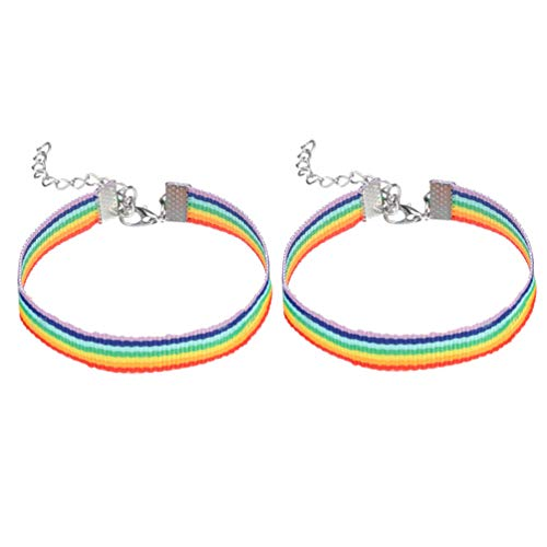 Amosfun 2 Piezas Pulsera del Arco Iris Pulsera Colorida Pulsera del Orgullo LGBT Pulseras de la Amistad del Amante de la Pareja de Lesbianas Gay para desfiles Festival del Arco Iris
