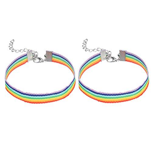 Amosfun 4 Piezas Pulseras de Arco Iris Pulseras del Orgullo LGBT Pulseras de Pareja de Lesbiana Gay Favores de Fiesta del Orgullo