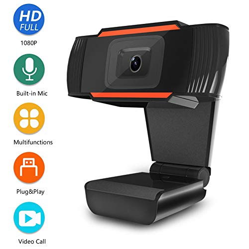 Webcam 1080P Full HD with Microphone for Streaming Video Calling Online Study Conference Recording Web Camera for Computers PC MAC Laptop Desktop USB Plug & Play Drive-free with Rotatable Clip