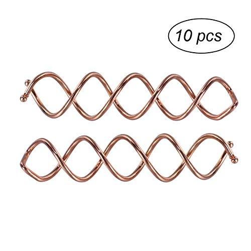 10 Pcs Spirale Twist Hair Pins Spin Clips Bun Stick Pick pour DIY Hair Style (Rose Gold)