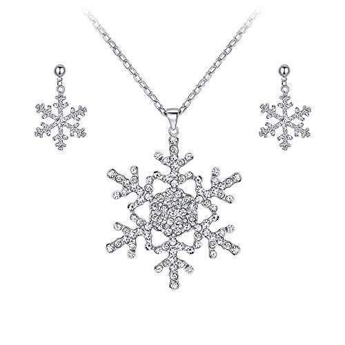 EVER FAITH Austrian Crystal Bridal Snowflake Necklace Earrings Set Clear Silver-Tone