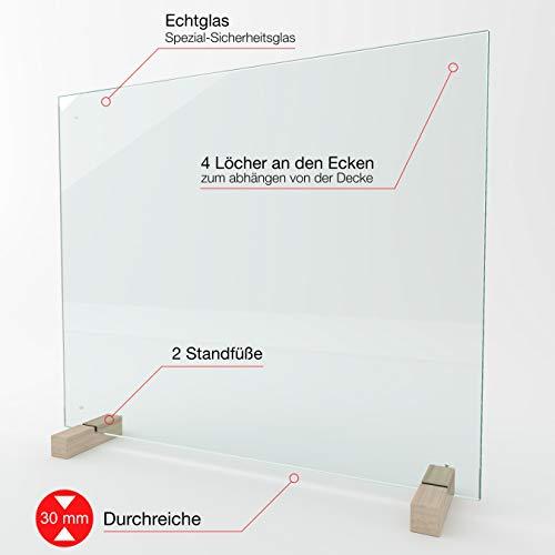 bijon Spuckschutz Thekenaufsatz aus Sicherheits-Glas mit Durchreiche | Hygienischer als Plexiglas und Acryl-Glas | M5 (60 x 130 cm)