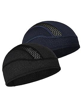 MELASA Skull Cap Helmet Liner for Men Women Cooling Mesh Sweat Wicking Cycling Motorcycle Beanie & Hard Hat Liner