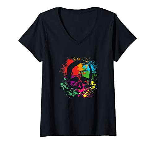 Damen Halloween, Gothic and Rock apparel for Skullfans T-Shirt mit V-Ausschnitt