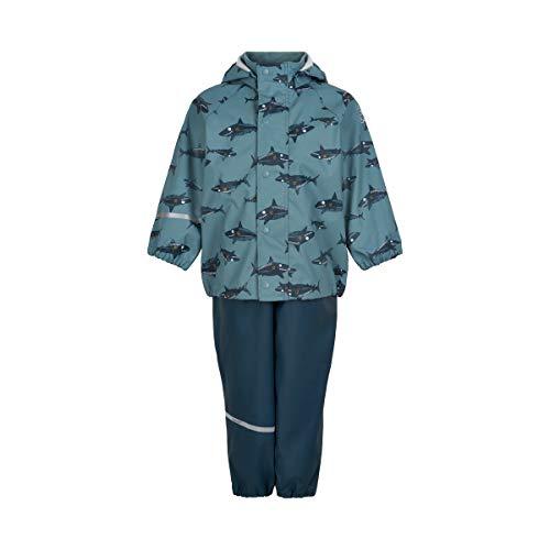Celavi Jungen Rainwear-Set with Print Regenjacke, Smoke Blue, 110