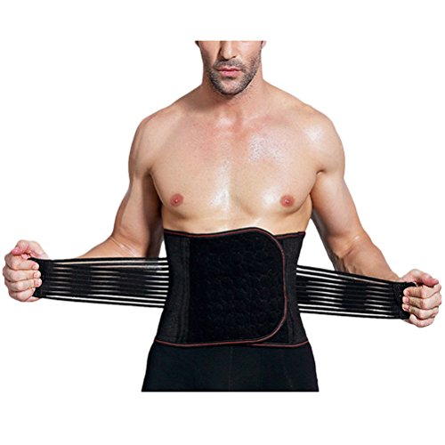 Zhhlinyuan High-grade Taillen-trimmer Mens Waist Trainer Belt Slim Body Sweat Wrap For Back Lumbar Support