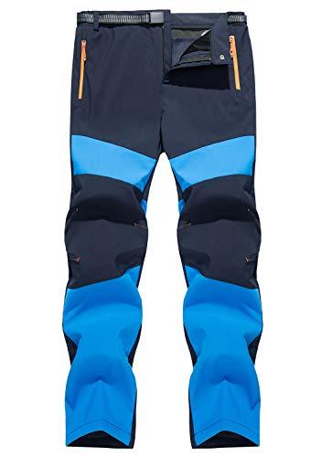 AIEOE Herren Funktionshose Gefütterte Hosen Winter Sporthose Skihosen mit Fleece Männer Outdoorhosen Blau Herstellergröße 4XL/ EU 54