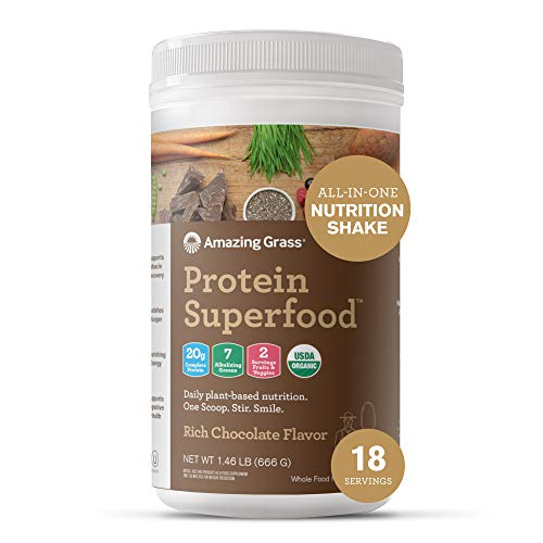 Amazing Grass Protein Superfood: Vegan Protein Powder, All in One Nutrition Shake, Rich Chocolate, 18 Servings