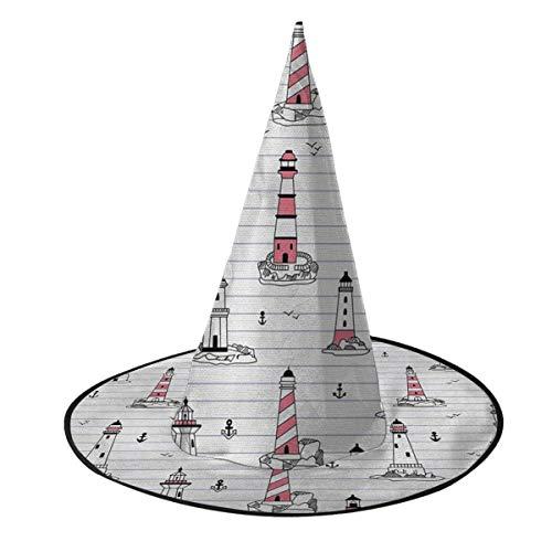 leyhjai Gran nmero de Faro Misterioso Impreso Sombrero de Halloween Unisex Sombreros de Bruja Accesorio de Disfraz Fiesta de Cosplay