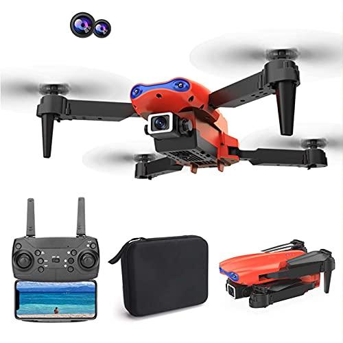 Gpure Drones con Cámara Doble 4K HD Profesional WiFi FPV 250m 50x Zoom Foto de Gesto Producción de Música MV 1800mAh Mini Plegable Drones Apto para Principiantes y Niños (Rojo)