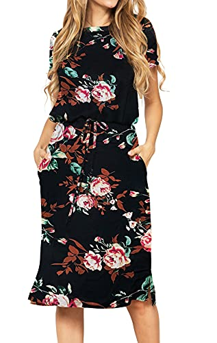 Product Image of the Womens Fashion Summer Short Sleeve Midi Floral Work Casual Dress Black M
