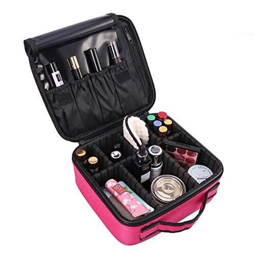 dorisdoll Makeup Bag Cosmetic Case Adjustable Compartments Brush Slot Waterproof Portable Travel Toiletry Bag Nail Art Tools Organizer Storage (Marble Pattern) (Rose Red)
