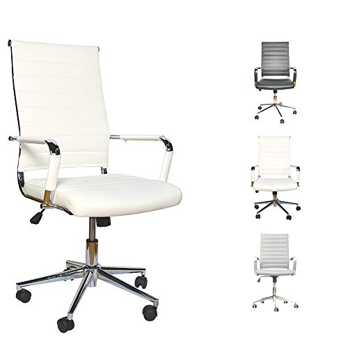 LUCKWIND Ergonomic Office Chair Ribbed Leather Swivel - Adjustable Height Tilt Arm Sleeves Lumbar Support High Back Upholstery Executive Modern Conference Computer Chrome Wheel Caster 350lb (White)