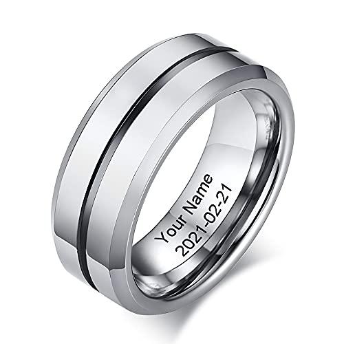 RolaQueen Clásico Personalizado Nombre Anillo Hombre Tungsteno Carburo de Tungsteno Ring Oro Plata 11