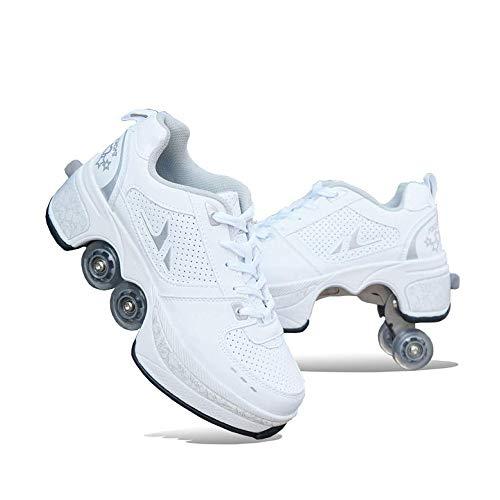 DLLY Zapatos con Ruedas,Patines En Línea,Zapatillas De Skate 2 En 1 Multifunción,Unisex para Adultos/Niños,Sneakers Resistentes Al Desgaste,Zapatos De Rodillo Ajustables,Tallas 31-43,Blanco,31