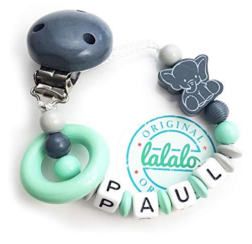 LALALO Schnullerkette Elefant Motiv und Ring mit Namen in Mint Grün, Baby Schnullerhalter aus Holz, Handmade Individuelle Namenskette zur Geburt, Geburtstag, Taufe