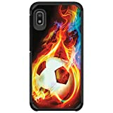 MINITURTLE Compatible with Samsung Galaxy A10e, A20e Hard Shell Dual Layer Bumper Case Cover [Defender] - Flaming Soccer Ball
