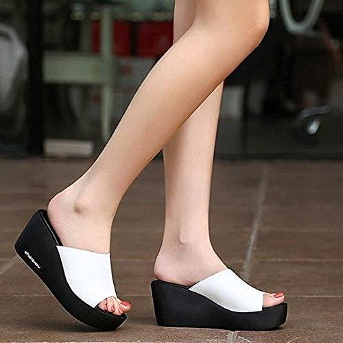 dihui Mädchen Flip Flops,High-Heeled Dick-in-One, Verschleiß in den Sandalen-Weiß_39,Mädchen Flip Flops