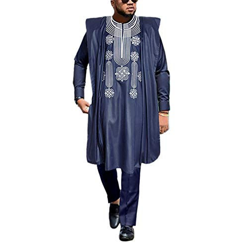 HD African Mens Apparel Agbada Clothing Embroidery Bubu Dashiki Shirts and Pants Outfits 3 Pieces, Blue XL