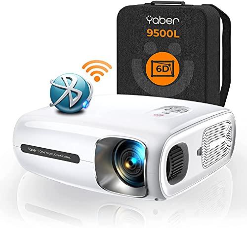 YABER Pro V7 9500L 5G Proiettore WiFi Bluetooth, Auto 6D Correzione Trapezoidale&4P/4D, Infinity Zoom, HD Proiettore di Film Home &Outdoor Videoproiettore 4k per PPT/iOS/Android ecc.