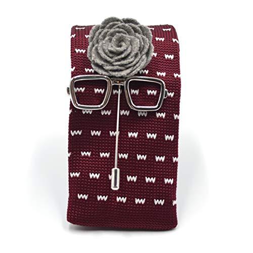 Art of The Gentleman Knitted Maroon Necktie 3pcs Tie Set