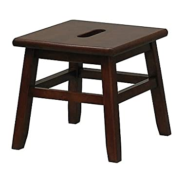 Porter Slotted Top Step Stool in Walnut Measures 12  D x 12  W x 12  H