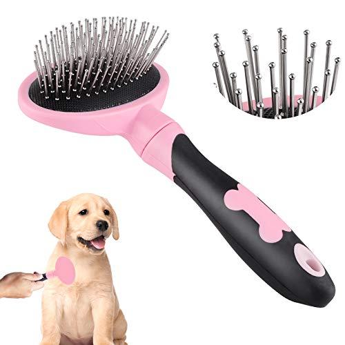 Sirecal Cepillo para Perros de Pelo Largo Pelo Corto, Cepillos para Gatos, Flexible Slicker Brush for Mascota Rosado