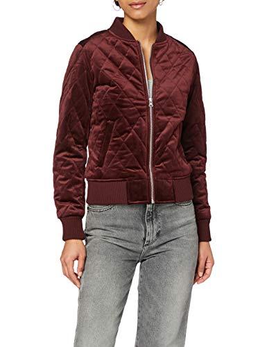 Urban Classics Damen Ladies Diamond Quilt Velvet Jacket Jacke, Rot (Burgundy 00606), Small