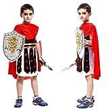 Costume Centurione Romano Bambino Vestito Carnevale Costumino Gladiatore Condottiero Multicolore (Taglia L) 5-6 Anni Travestimento Cosplay Ottimo Come Regalo Per Natale O Compleanno