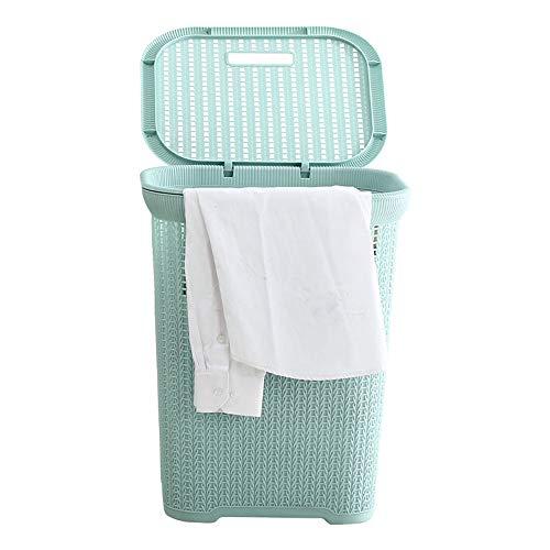 Cesta de lavandería Cesta de la compra Imitación de ratán Almacenamiento de plástico Cesta de lavado Cubo de la basura con tapa y asa para ropa sucia Juguete Hogar Dormitorio Azul-verde Cestos de al