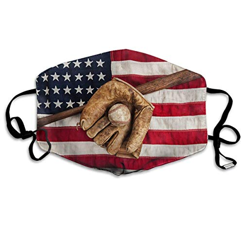 Mond Cover Vintage Honkbal Met Usa Amerikaanse Vlag Anti Stofzuiger Oor Loops Herbruikbare Wasbare Gezichtsbescherming Mond Sjaal