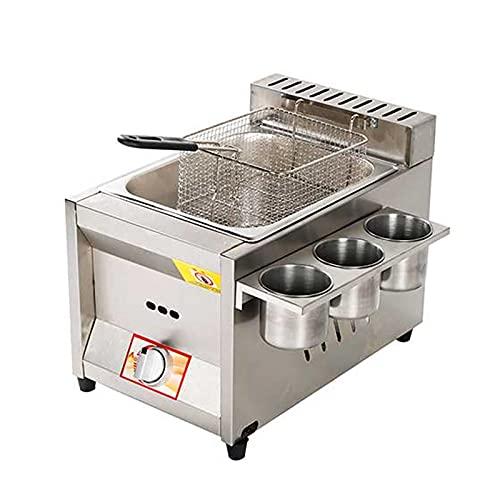 Deep Fryer Freidora de Gas, freidora de Gas Profesional de Acero Inoxidable Comercial con Cuchara de Cesta para encimera de Restaurante Comercial Máquina para cocinar Alimentos