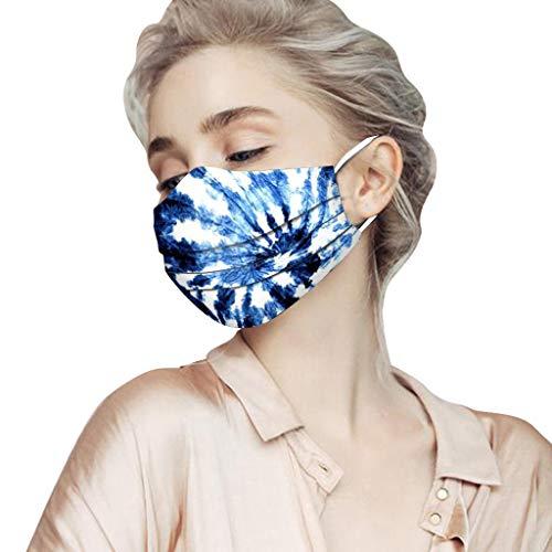 Wokee m_ascarilla Desechables Dibujos Adulto 50 Unidades Adulto Protección 3 Capas Poliéster Estampado Transpirables con Elástico para Los Oídos (A)