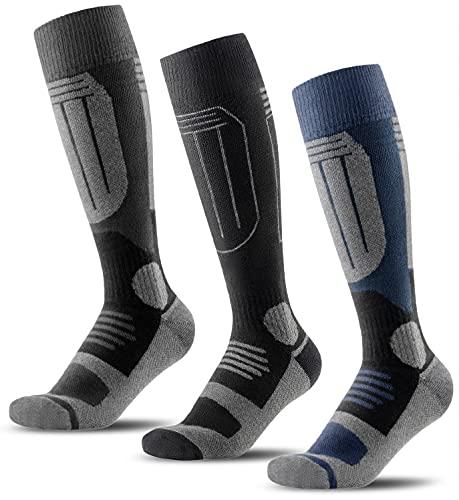 CXGCLUB Wool Ski Socks 3 Pairs - Thermal Socks for Skiing Snowboarding,OTC Knee High Performance Ice Skating Socks,Winter Warm Socks for Men and Women(Set 1-L)