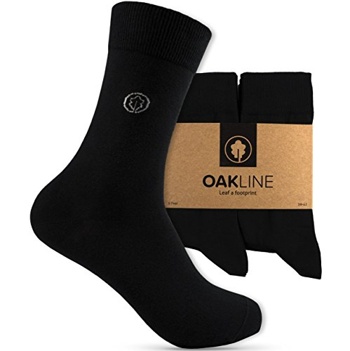 OAKLINE Rebel Black Herren Socken 39-42 Damen Socken 39-42 Business Herrensocken schwarz 39-42 ohne Gummi Damensocken 100% 6 Paar (schwarz, 39-42)