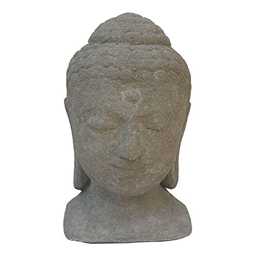 STONE art & more Massiver Buddha-Kopf, 40 cm, Steinfigur, Betonoptik, Steinguss, frostfest