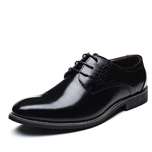 Business Anzugschuhe Herren, Lederschuhe Schnürhalbschuhe Oxford Smoking Lackleder Brogue Schuhe Hochzeit Derby Leder, 43 EU, Schwarz