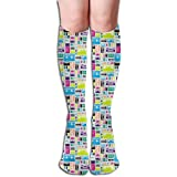 Generic Mix Bänder Retro s s Kassette Musik Rock And Roll Collage Vintage Analog Frauen Rohr Kniehohe Strümpfe Cosplay Socken 50 cm (19,6 Zoll)