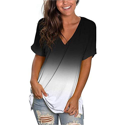 T-Shirt Damen Sommer Oberteile Kurzarm Tee Tops Casual mit V-Ausschnitt und Farbverlauf Shirt Hemd Bluse Female Teenager Mädchen Tshirt V-Ausschnitte Loose Oversize Shirt Oberteile