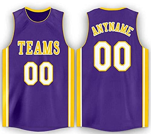 Team Jersey Custom Basketball Jerseys with Embroidered Name Numbers Stitched on for Men Women Kids Youth Customized Basketball Jerseys Purple with Yellow