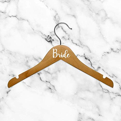 """Set of 6 Vinyl Art Decals - Bride Bridesmaid Maid of Honor - from 0.5"""" to 3"""" Each - Modern Elegant Trendy Chic Wedding Accessory Bridal Clothes Dresses Hanger Decorations (White)"""