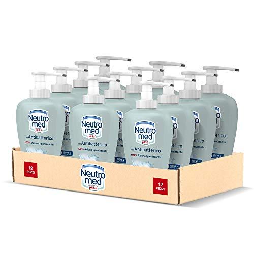 Neutromed Detergente Mani Liquido Antibatterico, Sapone Igienizzante Mani, 12 Pezzi x 300 ml