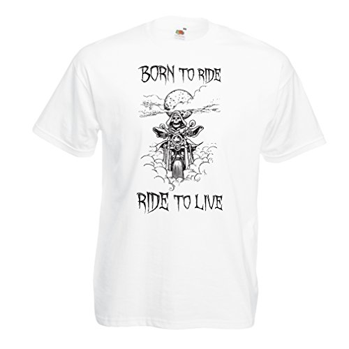 lepni.me N4690 Camiseta Born To Ride! Motorcycle Clothing (XXXX-Large Blanco Multicolor)