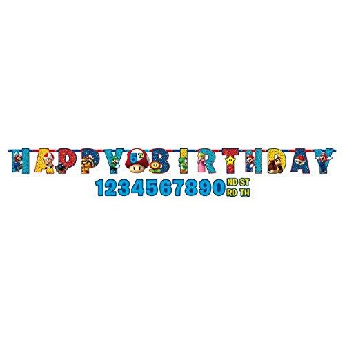 Amscan 121554 1 m x 11 cm super mario Happy Birthday Carta Banner