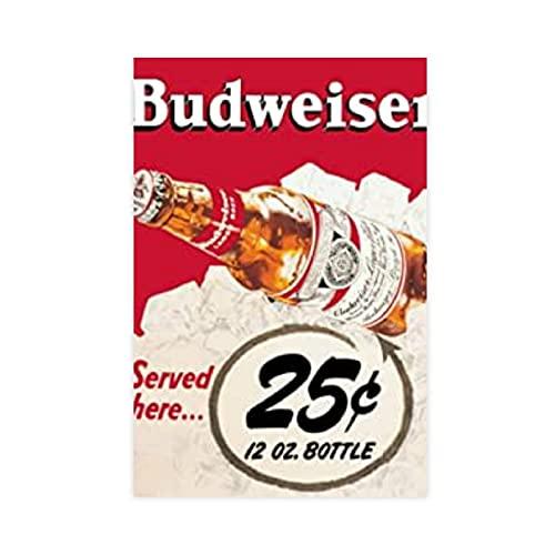 ART Budweiser - Póster de cerveza con botella de cerveza para decoración de sala de estar, dormitorio, 40 x 60 cm