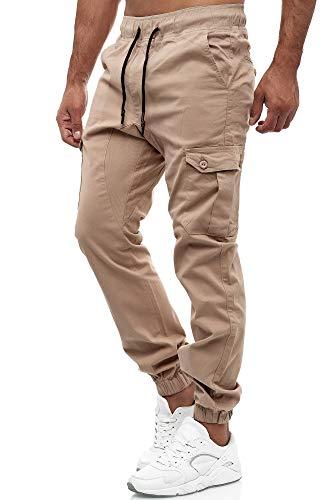 Tazzio Herren Cargo Chino Regular Fit Jogger Cargo harrem Chino Jeans Hose 16610, L, Beige
