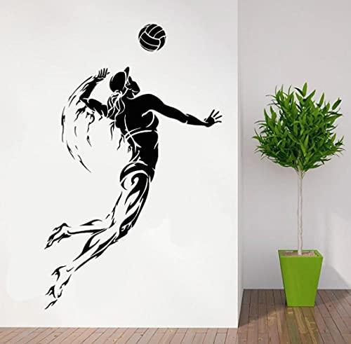 Voleibol deportes pared calcomanía voleibol mujeres atletas pegatinas de pared calcomanías de vinilo niña mujer dormitorio decoración papel tapiz 57X36CM