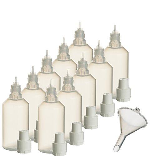 10 x 50 ml Liquidflaschen mit Füll-Trichter für E-Liquids E-Zigaretten e-shisha Plastik-flasche Dosier-flasche Spritz-flasche Leer-flasche Tropf-flasche Quetsch-flasche Nadel-flasche PP